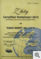 Złoty Certyfikat Rzetelności 2012